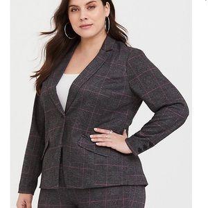 Torrid Grey Plaid Double Knit Blazer Jacket